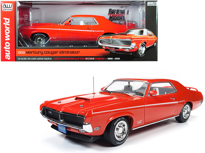 1969 Mercury Cougar Eliminator Hardtop Competition Orange White Stripes 50th Anniversary of the Boss Engines 1969 2019 1/18 Diecast Model Car Autoworld AMM1183