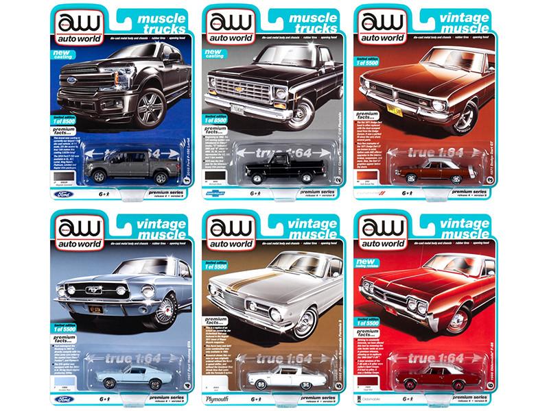 Autoworld Muscle Cars Premium 2019 Release 4 Set B 6 pieces 1/64 Diecast Model Cars Autoworld 64232 B