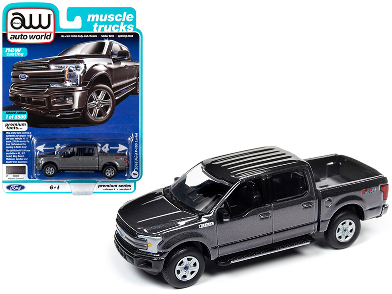 2018 Ford F-150 Lariat Pickup Truck Magnetic Gunmetal Gray Metallic Muscle Trucks Limited Edition 8500 pieces Worldwide 1/64 Diecast Model Car Autoworld 64232 AWSP029 B