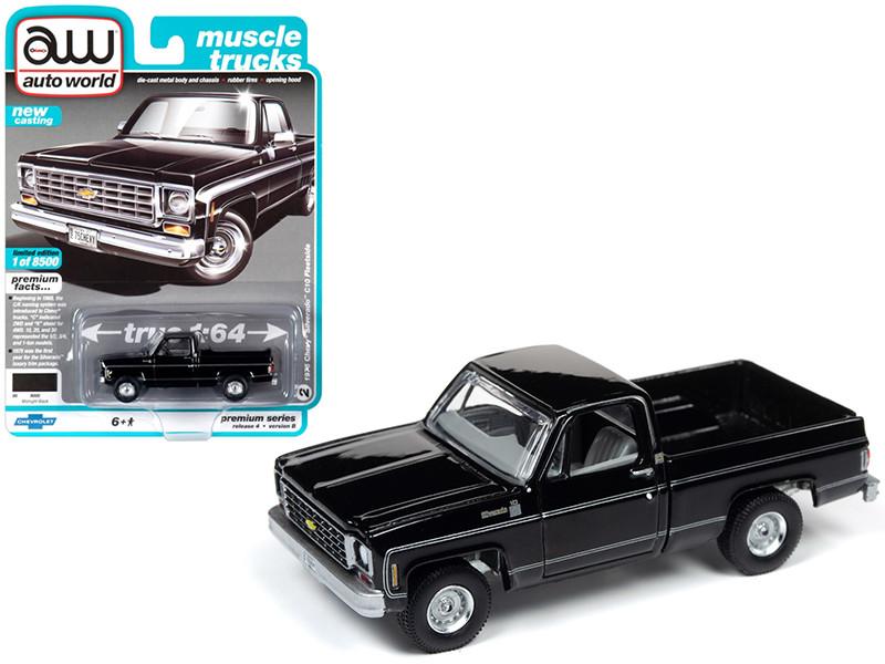 1975 Chevrolet Silverado C10 Fleetside Pickup Truck Midnight Black Muscle Trucks Limited Edition 8500 pieces Worldwide 1/64 Diecast Model Car Autoworld 64232 AWSP030 B