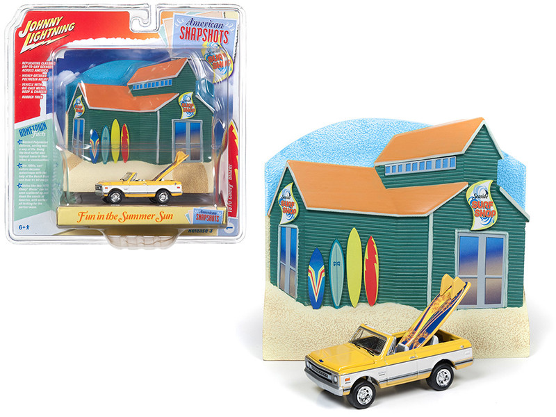 1970 Chevrolet Blazer Convertible Pickup Truck Yellow White Surf Boards Surf Shop Front Facade Diorama Set American Snapshots 1/64 Diecast Model Car Johnny Lightning JLDR005