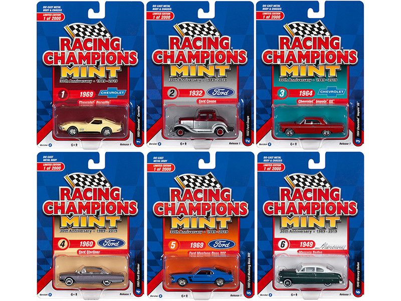 2019 Mint Release 1 Set B of 6 Cars 30th Anniversary 1989 2019 Limited Edition 2000 pieces Worldwide 1/64 Diecast Models Racing Champions RC010 B