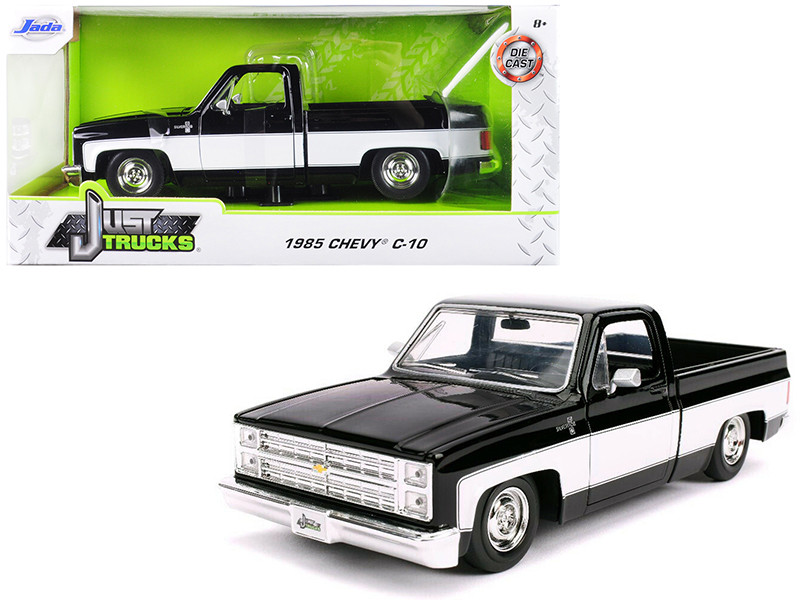 1985 Chevrolet Silverado C-10 Pickup Truck Stock Wheels Black White 1/24 Diecast Model Car Jada 31605 SW