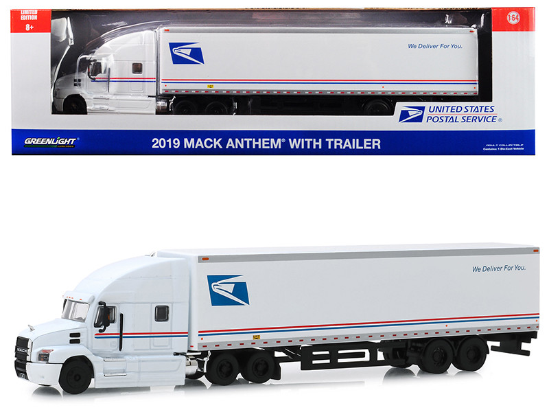 2019 Mack Anthem 18 Wheeler Tractor Trailer USPS United States Postal Service We Deliver For You 1/64 Diecast Model Greenlight 30090
