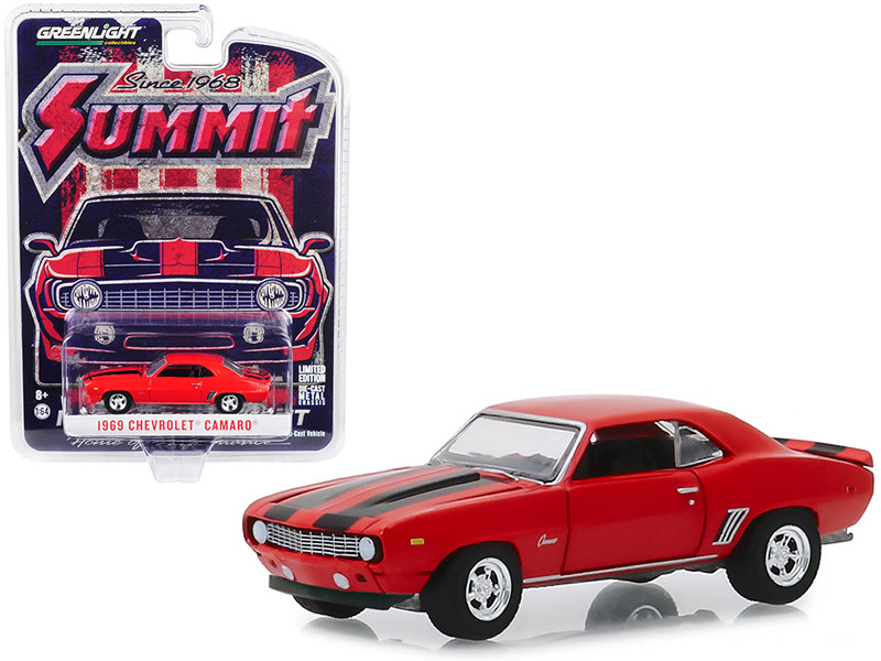 1969 Chevrolet Camaro Red Black Stripes Since 1968 Summit Racing Equipment 1/64 Diecast Model Car Greenlight 30107