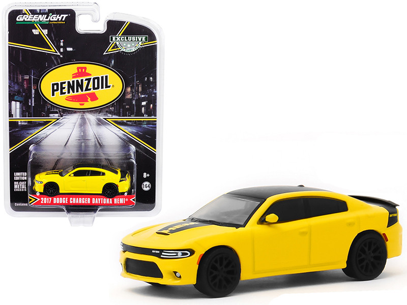 2017 Dodge Charger Daytona HEMI Yellow Black Top Pennzoil Advertisement Car Hobby Exclusive 1/64 Diecast Model Car Greenlight 30112