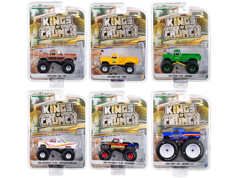 Kings of Crunch Series 5 Set of 6 Monster Trucks 1/64 Diecast Model Cars Greenlight 49050