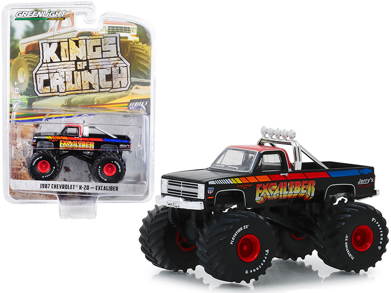 1987 Chevrolet K-20 Silverado Monster Truck Excaliber Black Red Top Kings of Crunch Series 5 1/64 Diecast Model Car Greenlight 49050 E