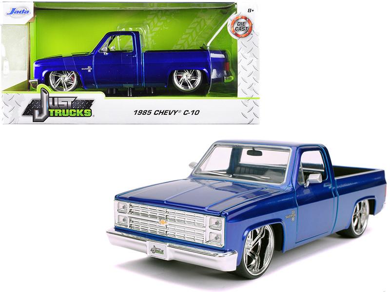 1985 Chevrolet Silverado C-10 Pickup Truck Candy Blue Just Trucks 1/24 Diecast Model Car Jada 30287