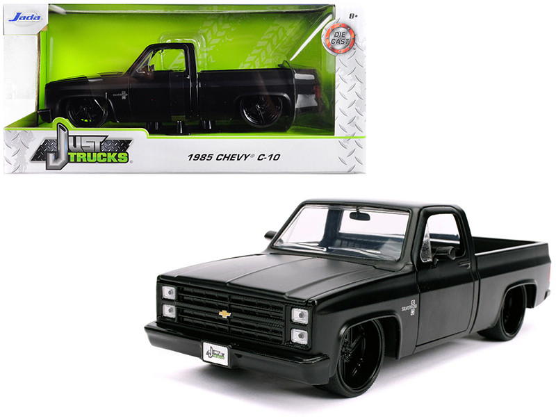 1985 Chevrolet Silverado C-10 Pickup Truck Matt Black with Black Wheels Just Trucks 1/24 Diecast Model Car Jada 31604