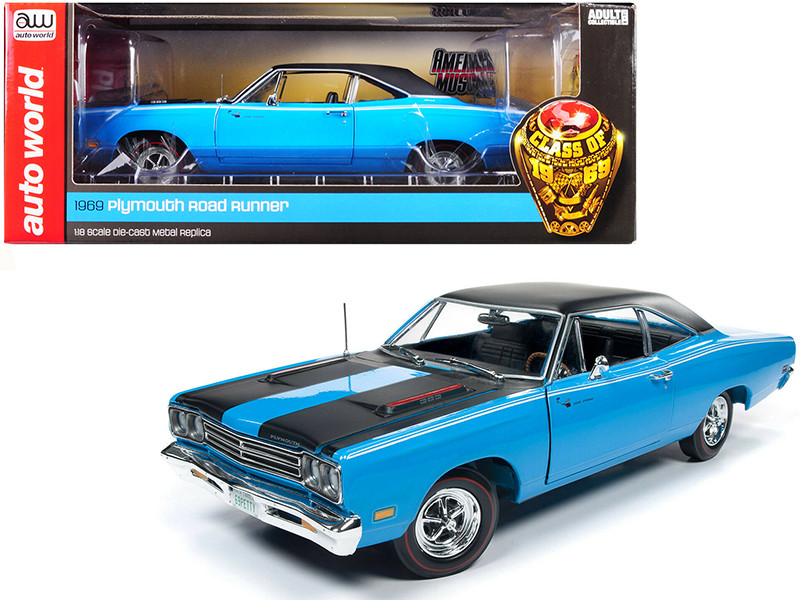 1969 Plymouth Road Runner Hardtop Petty Blue Black Top Black Stripes Looney Tunes Class of 1969 1/18 Diecast Model Car Autoworld AMM1184