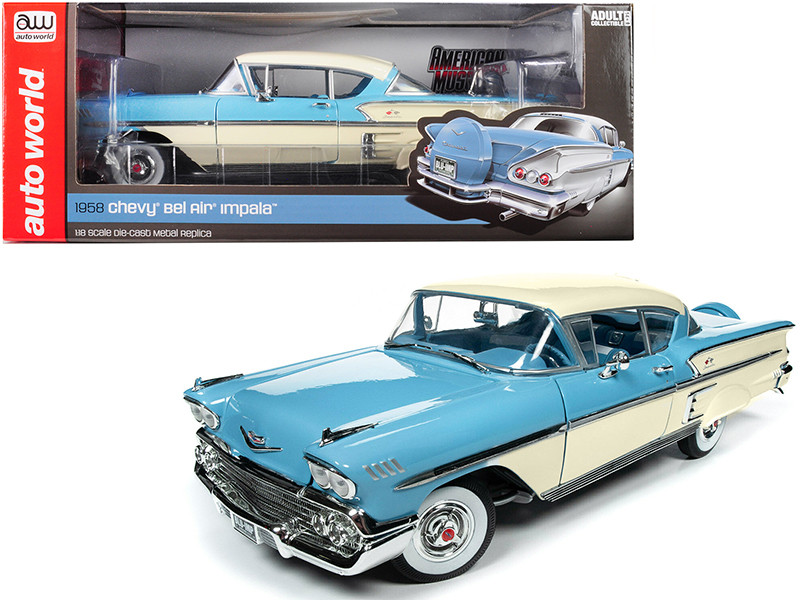 1958 Chevrolet Bel Air Impala Cashmere Blue Cream 1/18 Diecast Model Car Autoworld AMM1216