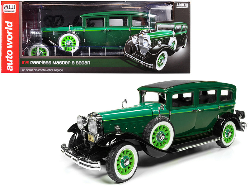 1931 Peerless Master 8 Sedan Dark Green Light Green Hood 1/18 Diecast Model Car Autoworld AW261
