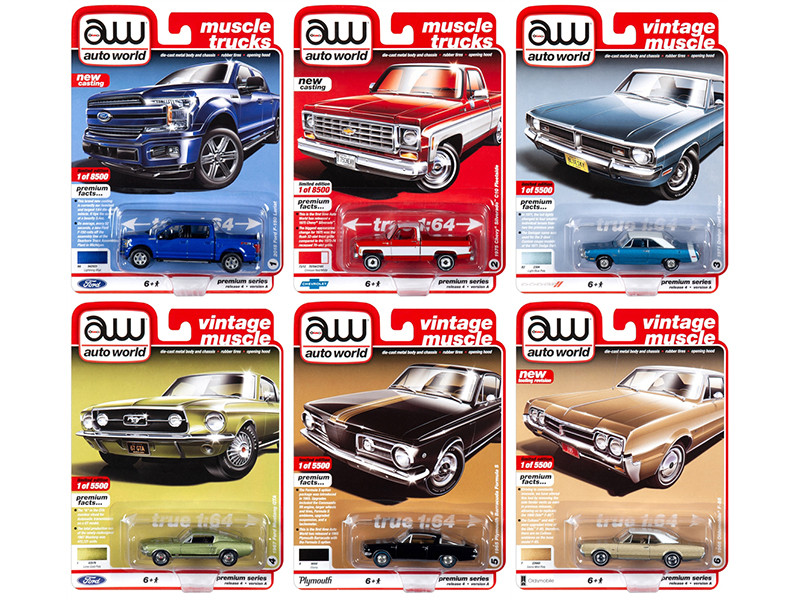Autoworld Muscle Cars Premium 2019 Release 4 Set A of 6 pieces 1/64 Diecast Model Cars Autoworld 64232 A