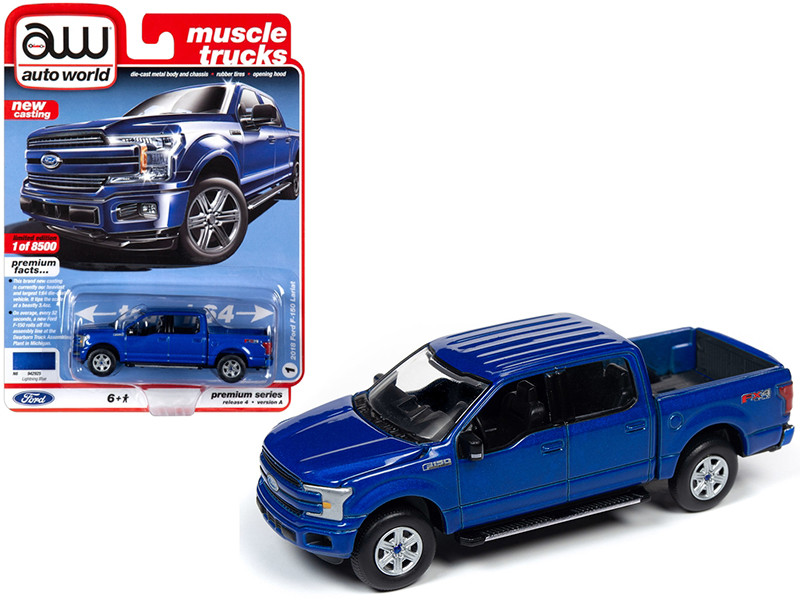 2018 Ford F-150 Lariat Pickup Truck Lightning Blue Metallic Muscle Trucks Limited Edition 8500 pieces Worldwide 1/64 Diecast Model Car Autoworld 64232 AWSP029 A