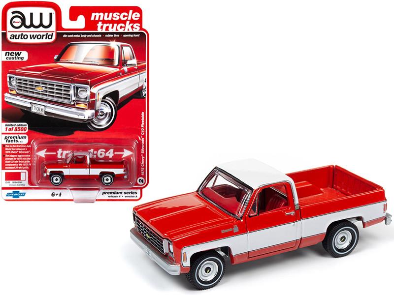 1975 Chevrolet Silverado C10 Fleetside Pickup Truck Crimson Red White Red Interior Muscle Trucks Limited Edition 8500 pieces Worldwide 1/64 Diecast Model Car Autoworld 64232 AWSP030 A