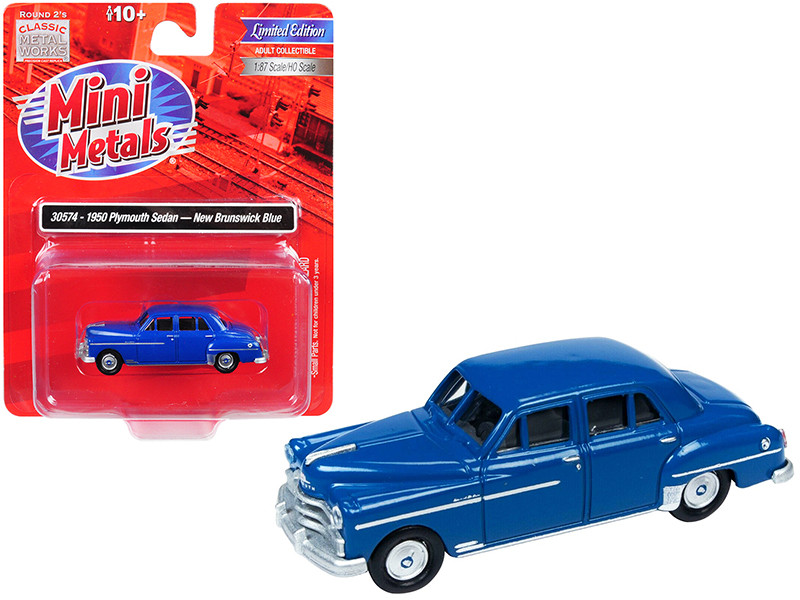 1950 Plymouth Sedan New Brunswick Dark Blue 1/87 HO Scale Model Car Classic Metal Works 30574