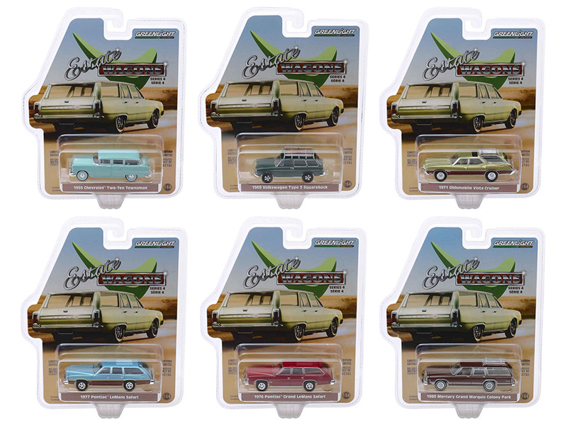 Estate Wagons Series 4 6 piece Set 1/64 Diecast Model Cars Greenlight 29970