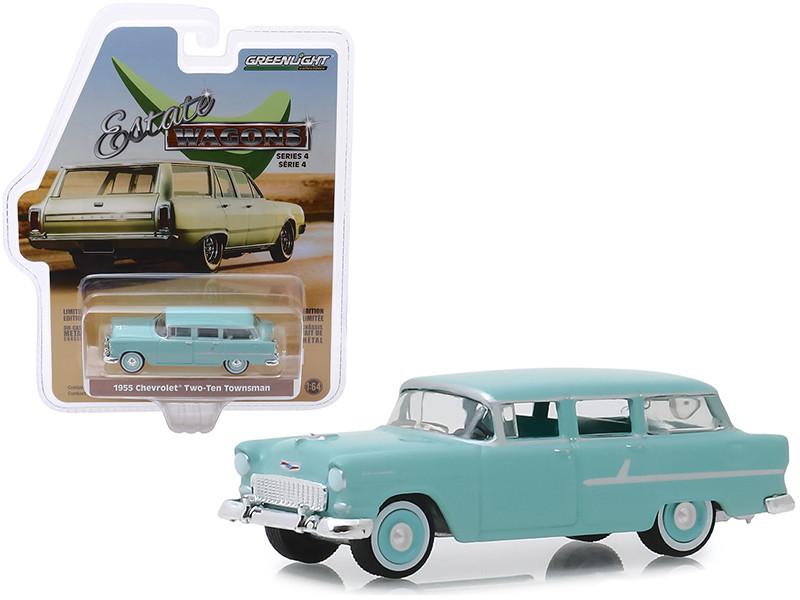1955 Chevrolet Two-Ten Townsman Sea Mist Green with Sea Mist Green Interior Estate Wagons Series 4 1/64 Diecast Model Car Greenlight 29970 A
