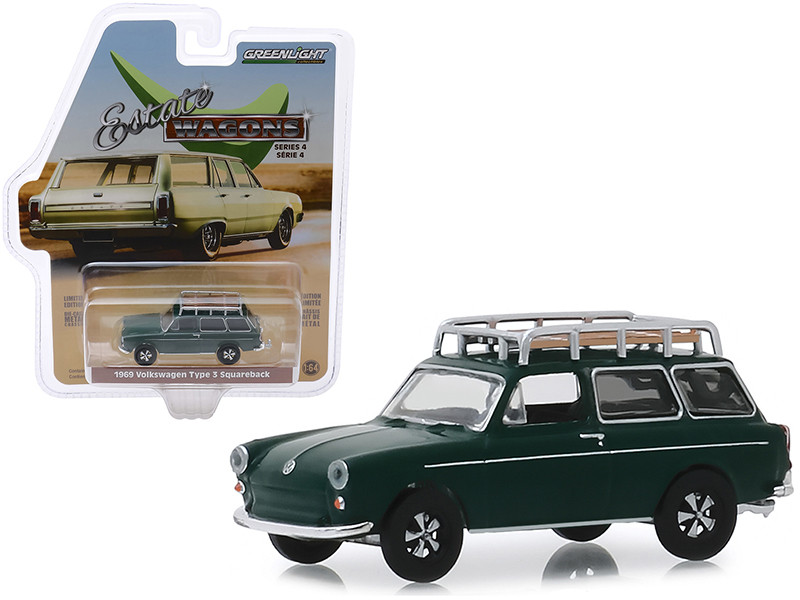 1969 Volkswagen Type 3 Squareback Roof Rack Dark Green Estate Wagons Series 4 1/64 Diecast Model Car Greenlight 29970 B