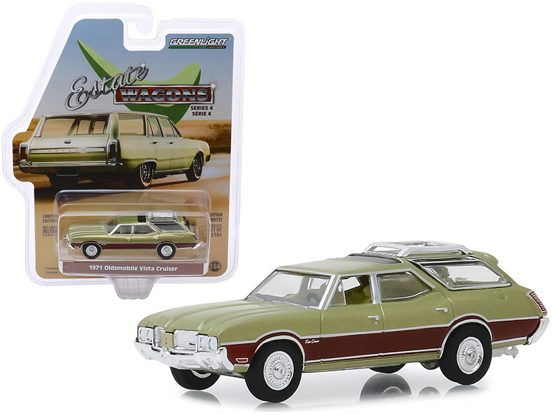 1971 Oldsmobile Vista Cruiser Palm Green Metallic Woodgrain Light Green Interior Estate Wagons Series 4 1/64 Diecast Model Car Greenlight 29970 C