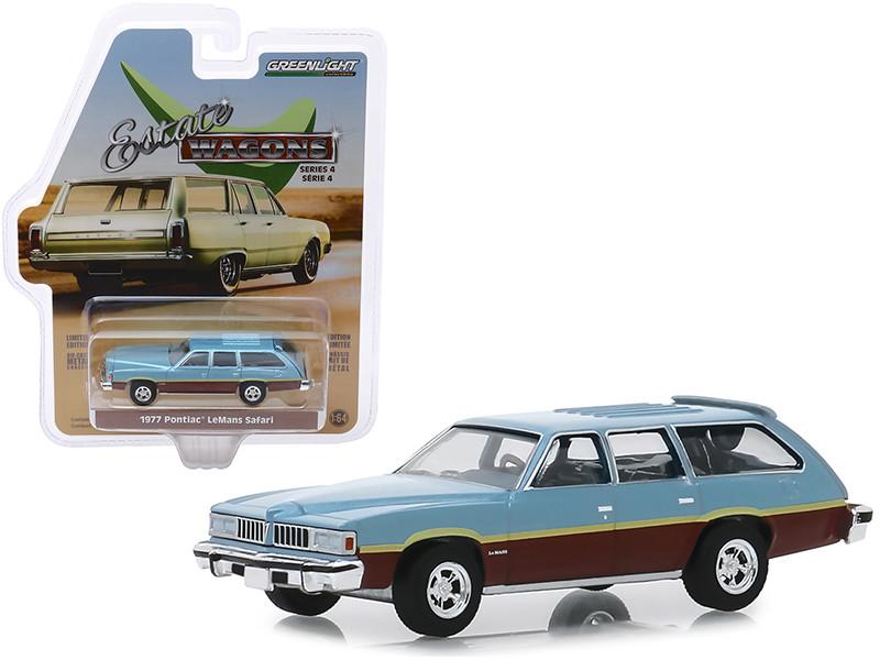 1977 Pontiac LeMans Safari Wagon Glacier Blue Metallic Woodgrain Light Blue Interior Estate Wagons Series 4 1/64 Diecast Model Car Greenlight 29970 D
