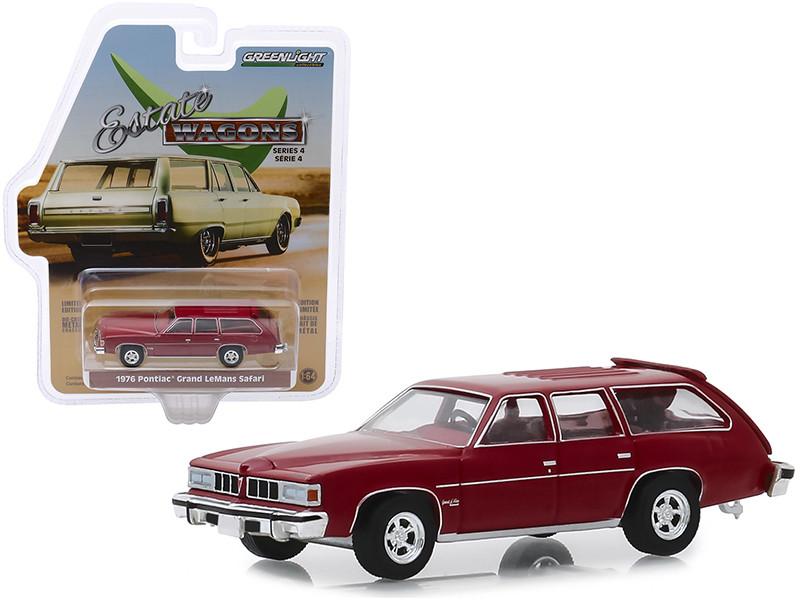 1976 Pontiac Grand LeMans Safari Wagon Dark Red Red Interior Estate Wagons Series 4 1/64 Diecast Model Car Greenlight 29970 E