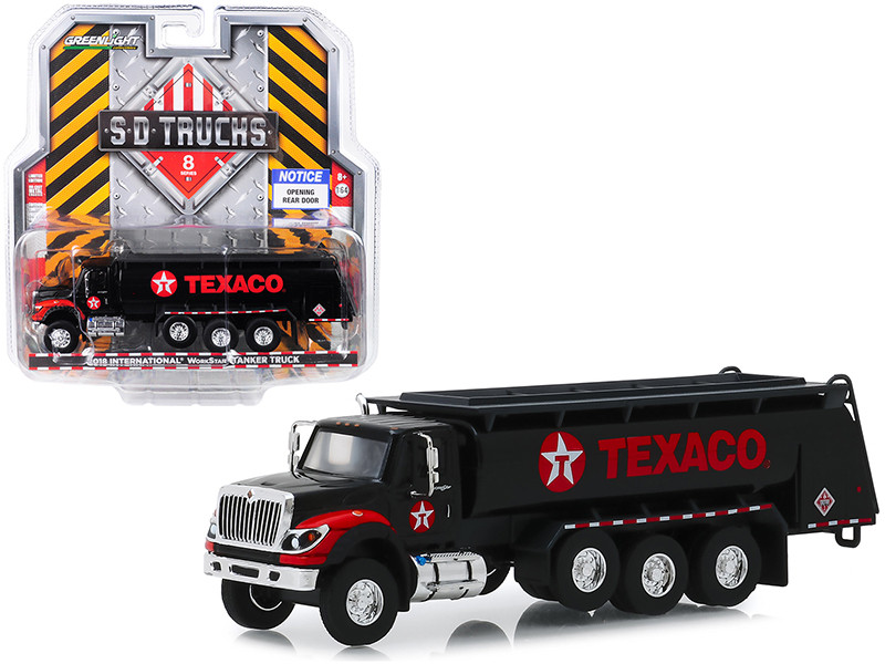 2018 International WorkStar Tanker Truck Black Texaco SD Trucks Series 8 1/64 Diecast Model Greenlight 45080 A