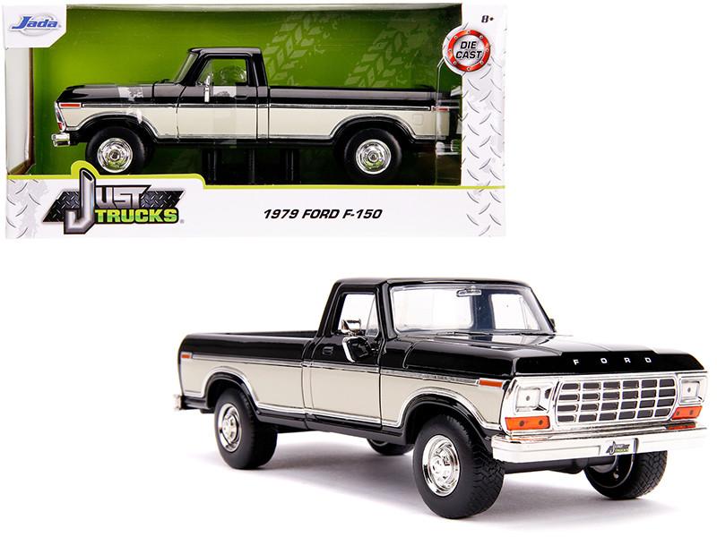 1979 Ford F-150 Pickup Truck Stock Black Cream Just Trucks 1/24 Diecast Model Car Jada 31585