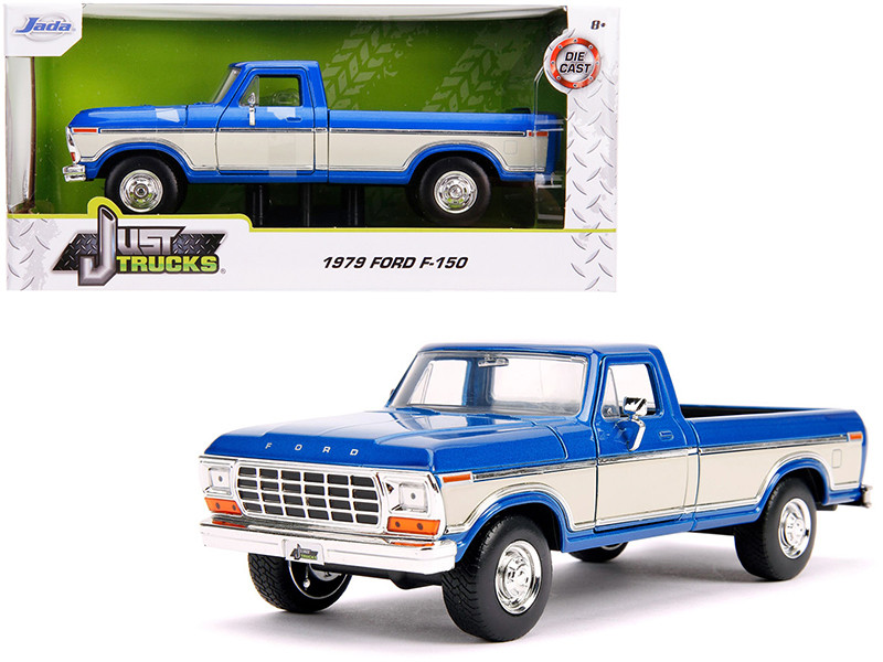 1979 Ford F-150 Pickup Truck Stock Candy Blue Metallic Cream Just Trucks 1/24 Diecast Model Car Jada 31587