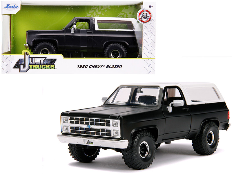 1980 Chevrolet Blazer K5 Off Road Matt Black White Just Trucks 1/24 Diecast Model Car Jada 31590