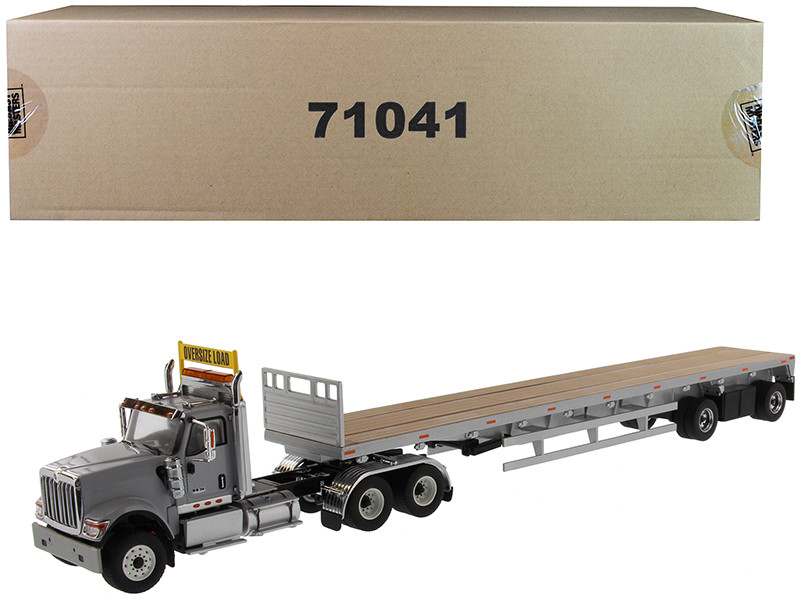 International HX520 Tandem Tractor Light Gray with 53' Flat Bed Trailer Transport Series 1/50 Diecast Model Diecast Masters 71041