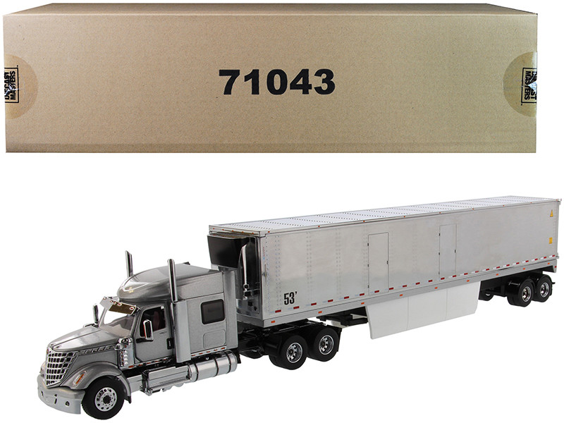 International LoneStar Sleeper Cab Silver with 53' Reefer Refrigerated Chrome Plated Van Trailer Transport Series 1/50 Diecast Model Diecast Masters 71043