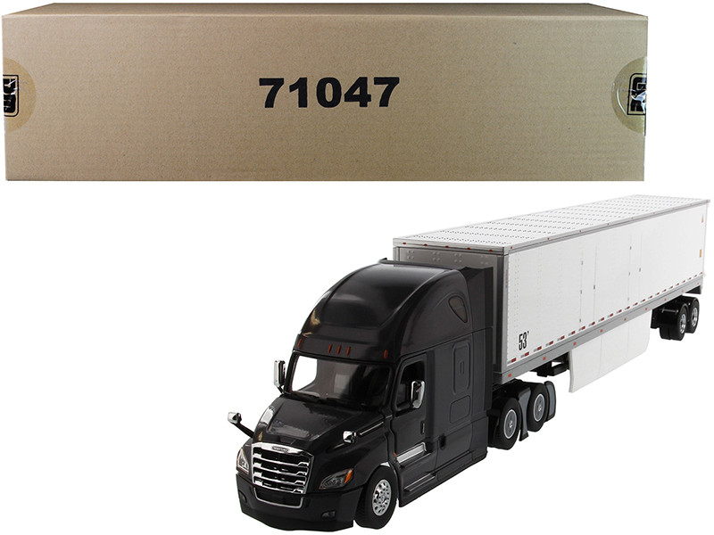 Freightliner New Cascadia Sleeper Cab Black with 53' Dry Van Trailer White Transport Series 1/50 Diecast Model Diecast Masters 71047