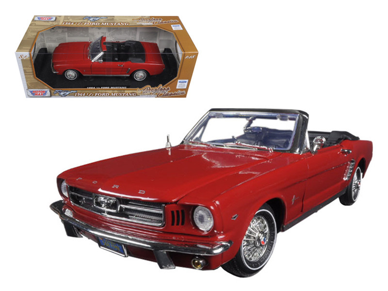 "1964 1/2 Ford Mustang Convertible Red ""Timeless Classics"" 1/18 Diecast Model Car Motormax 73145"