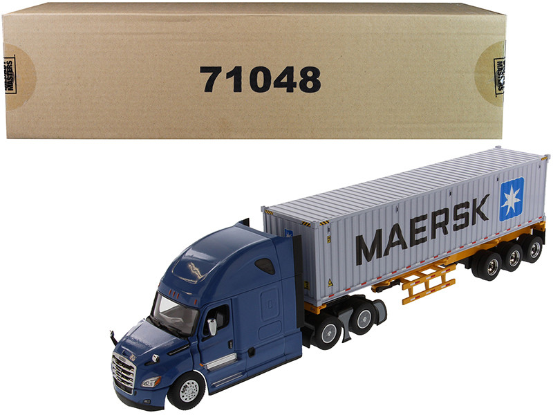 Freightliner New Cascadia Blue with Skeleton Trailer and 40' Dry Goods Sea Container MAERSK Transport Series 1/50 Diecast Model Diecast Masters 71048