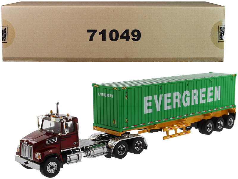 Western Star 4700 SB Tandem Truck Tractor Metallic Red with Skeleton Trailer and 40' Dry Goods Sea Container EverGreen Transport Series 1/50 Diecast Model Diecast Masters 71049