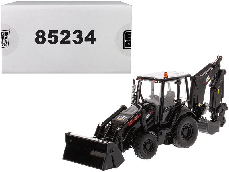 CAT Caterpillar 420F2 IT Backhoe Loader Special Black Paint Finish Work Tools Two Figurines 30th Anniversary Edition High Line Series 1/50 Diecast Model Diecast Masters 85234