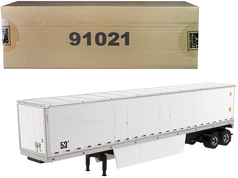 53' Dry Cargo Van Trailer White Transport Series 1/50 Diecast Model Diecast Masters 91021