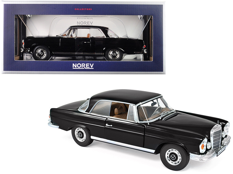 1969 Mercedes Benz 280 SE Coupe Black 1/18 Diecast Model Car Norev 183432