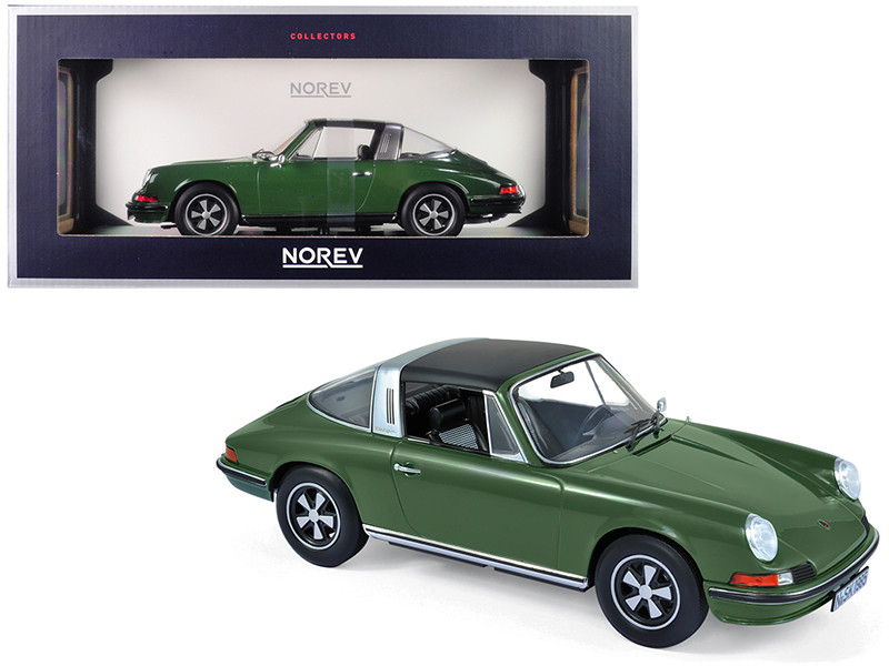 1973 Porsche 911 S Targa Green Black Top 1/18 Diecast Model Car Norev 187632