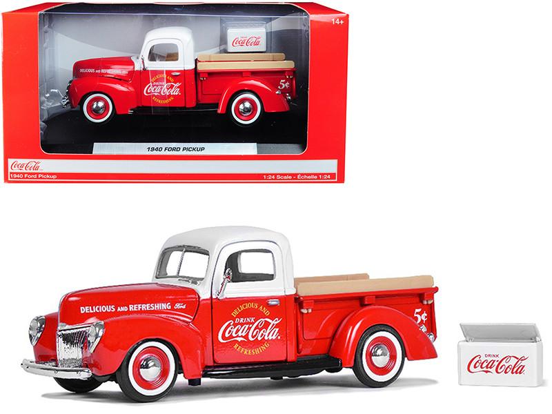 1940 Ford Pickup Truck Coca Cola Red White Coca Cola Cooler Accessory 1/24 Diecast Model Car Motorcity Classics 424040
