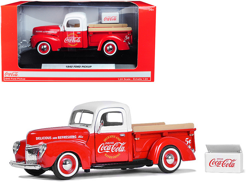1940 Ford Pickup Truck Coca Cola Red White Coca Cola Cooler Accessory 1/24 Diecast Model Car Motorcity Classics 424040