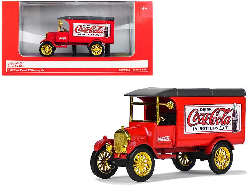 1926 Ford Model TT Delivery Van Coca Cola Red Gold Wheels 1/43 Diecast Model Car Motorcity Classics 443026