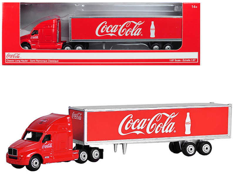 Classic Long Hauler Tractor Trailer Coca Cola Red 1/87 HO Scale Diecast Model Motorcity Classics 487010