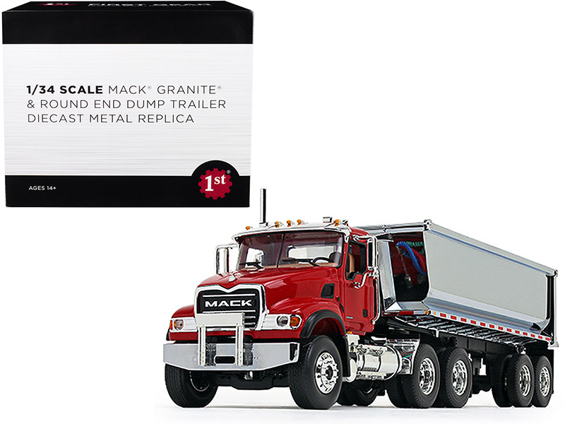 Mack Granite with Round End Dump Trailer Red and Chrome 1/34 Diecast Model First Gear 10-4181