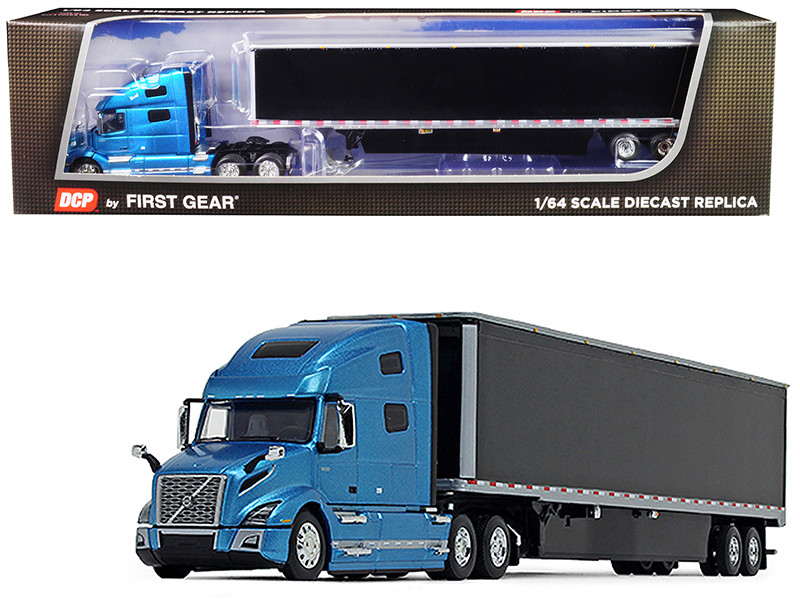 Volvo VNL 760 High-Roof Sleeper Cab 53' Dry Goods Trailer Skirts Sky Blue Metallic Black 1/64 Diecast Model DCP First Gear 60-0644