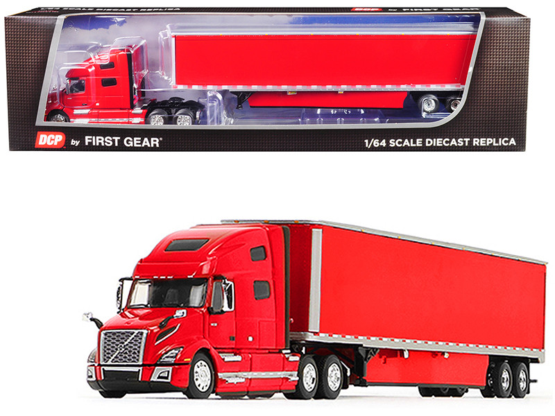 Volvo VNL 760 High-Roof Sleeper Cab 53' Dry Goods Trailer Skirts Viper Red 1/64 Diecast Model DCP First Gear 60-0646