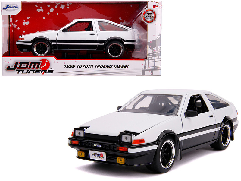 1986 Toyota Trueno AE86 RHD Right Hand Drive White Black JDM Tuners 1/24 Diecast Model Car Jada 31602