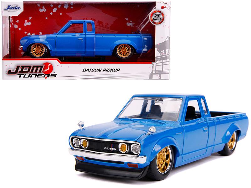 Datsun Pickup Truck Bright Blue Gold Wheels JDM Tuners 1/24 Diecast Model Car Jada 31603